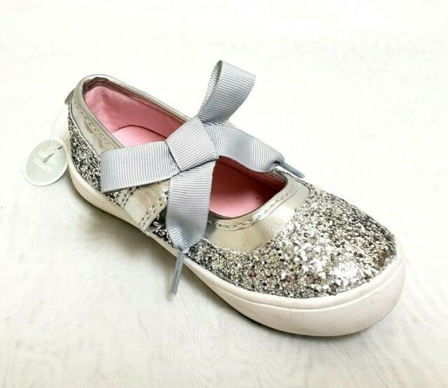 Silver Glitter Mary Jane Bow