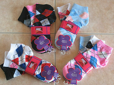 NEW W/TAGS Ladies Argyle design ankle Socks Cotton Blend 3 pair pack 9-11 casual