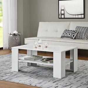 en.casa]® Tavolino salotto bianco 100x60cm tavolo d´appoggio legno ...