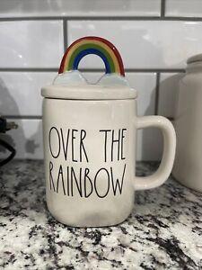 """New ~ Rae Dunn """"OVER THE RAINBOW"""" Mug With Rainbow Topper"""