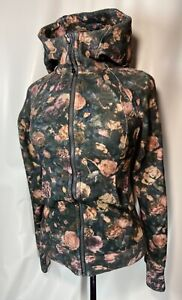 Lululemon Scuba Hoodie IV Frosted Rose Floral Women's Athletic Jacket Pink Sz 4