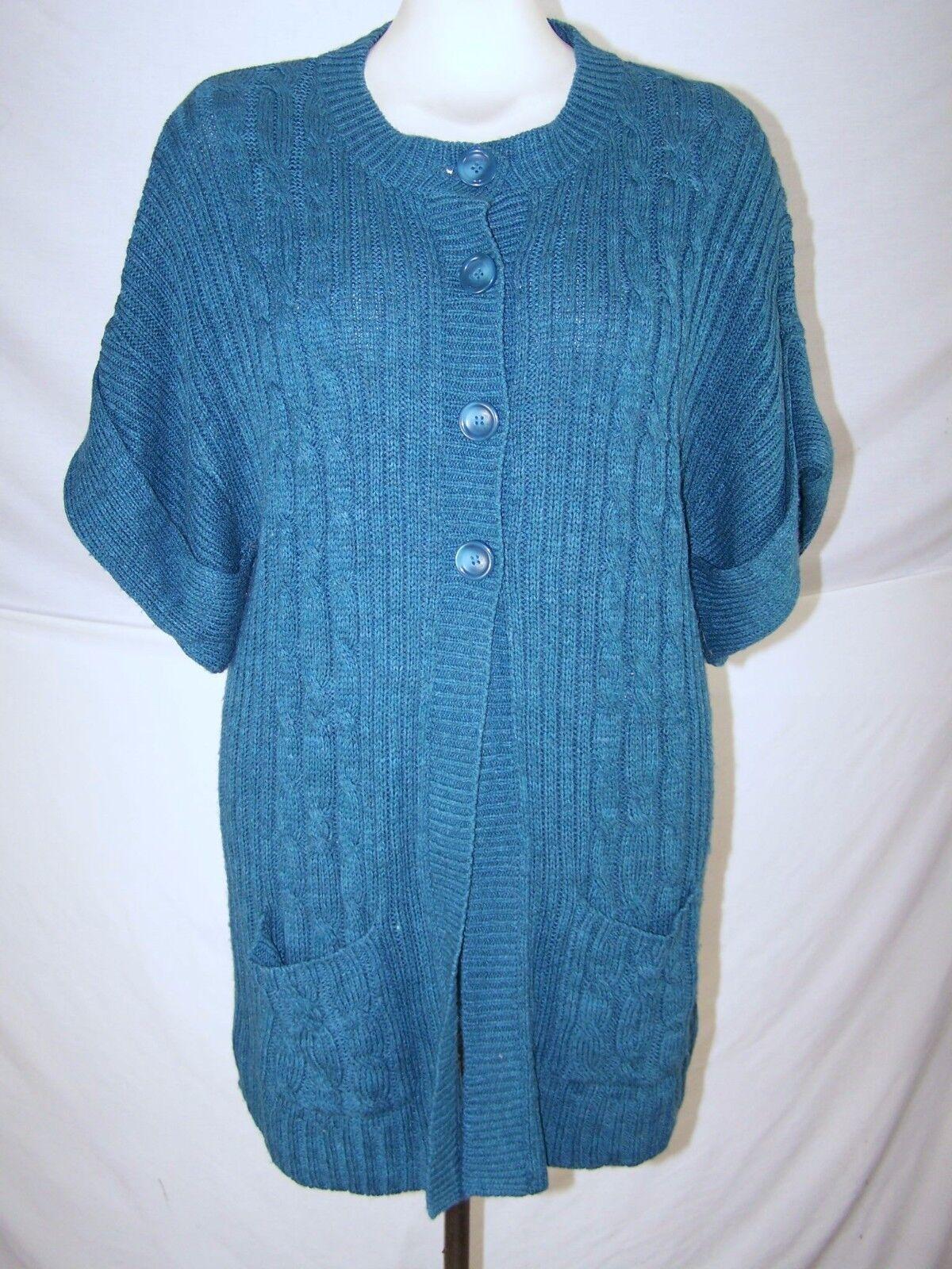 Faded Glory Blue Green Short Sleeve Cardigan Sweater Womens Size ...