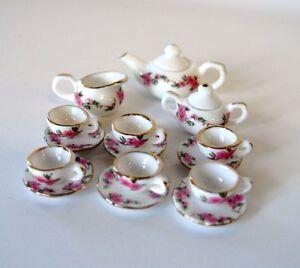 Teeservice-Rose-Porzellan-rosa-Blumenmuster-17-Teile-Puppenhaus-Miniatur-1-12