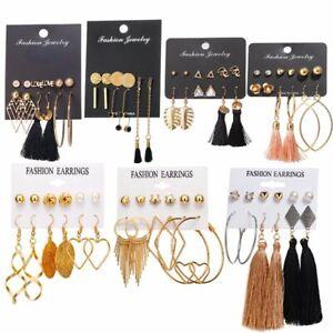 6Pairs-Chic-Korean-Tassel-Earrings-Set-Crystal-Ear-Stud-Hoop-Dangle-Hook-Women