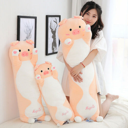 plush toy lovely heart pig hug me piggy stuffed doll long body pillow cushion