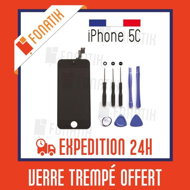 ECRAN LCD IPHONE 5C NOIR + VITRE TACTILE MONTES SUR CHASSIS + KIT OUTILS OFFERT!