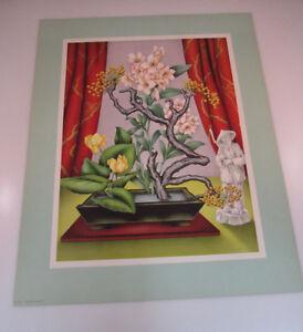 Vintage Mid Century Art Deco Goes Litho Framed Print Asian Flower