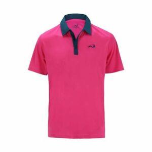 Woodworm Solid Tech Golf Polo Shirt (Pink/Blue)