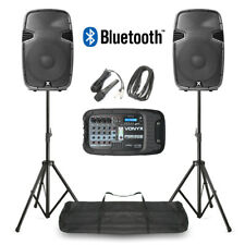 Portable PA Speaker System MP3 Bluetooth Amplifier Mixer, Mic, Stands DJ Disco