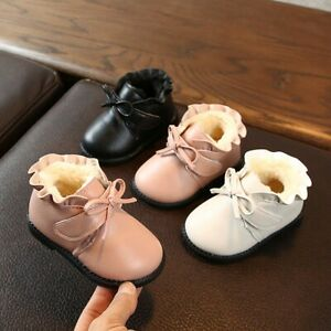 Winter-Toddler-Baby-Girls-Bowknot-Solid-Warm-Short-Boots-Booties-Causal-Shoes