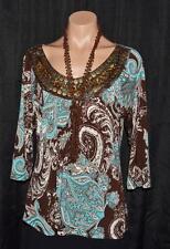 SUSAN LAWRENCE Blue Brown Paisley Embellished Scoop Neck 3/4 Sleeve Top Sz L