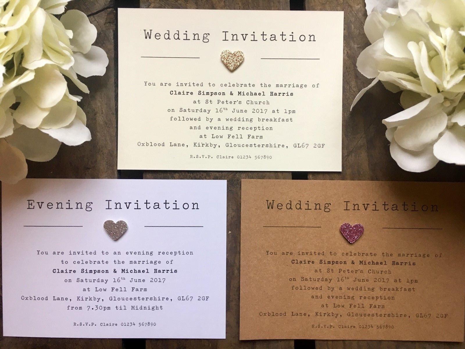 Personalised Rustic Glitter heart Wedding   Evening Invitations - typewriter