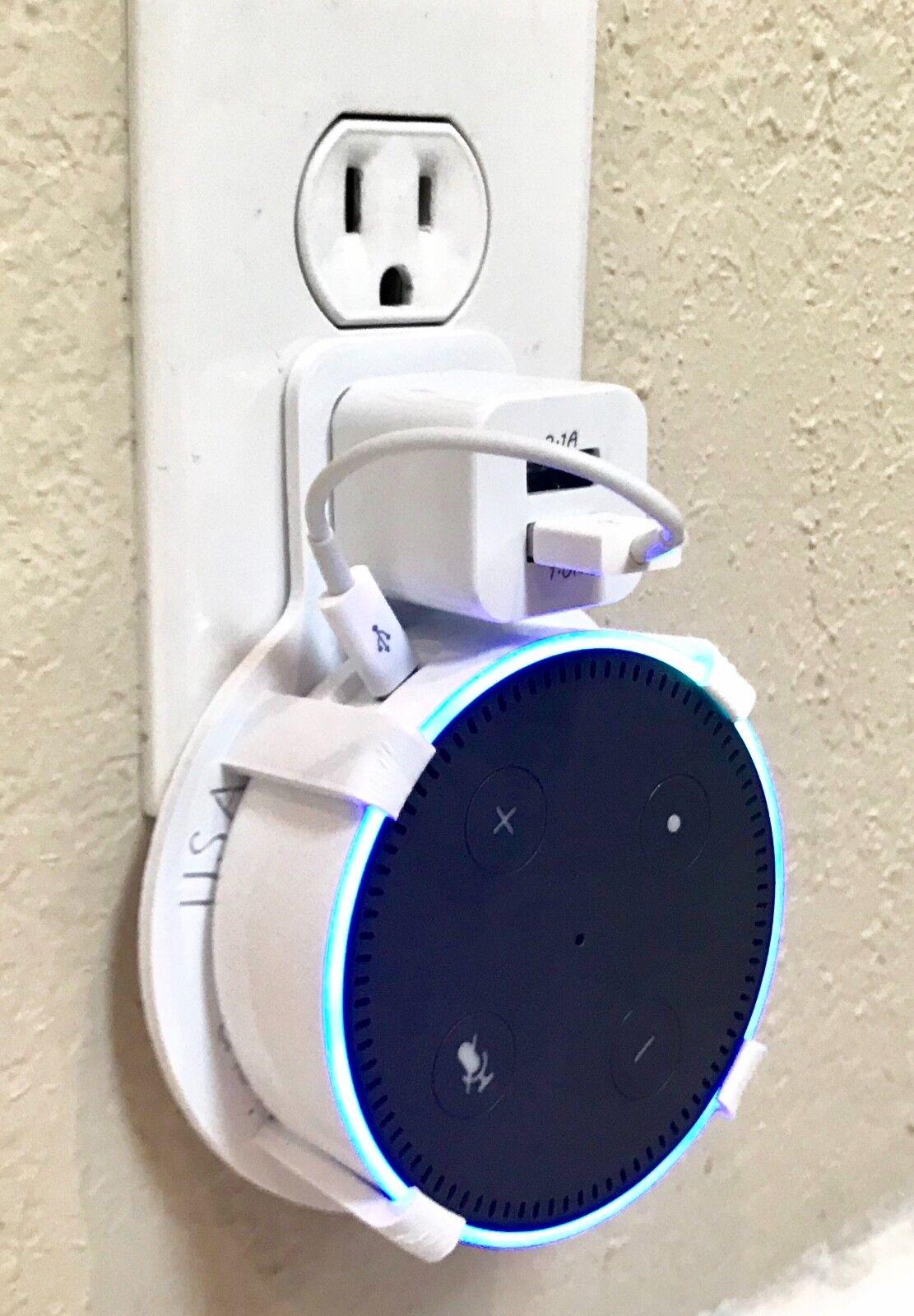 Twin USB Port PLUG-IN Wall Mount for Amazon Echo Dot 2nd Gen (White)