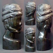 Art Africain 1930 statue buste Homme ébène massif 5.7kg42c Gabon  très déco rare