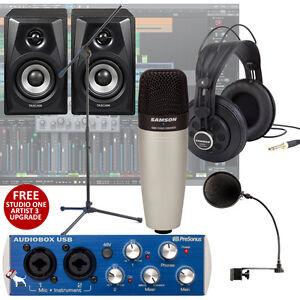 presonus audiobox samson c01 tascam vls3 home recording bundle studio ebay. Black Bedroom Furniture Sets. Home Design Ideas