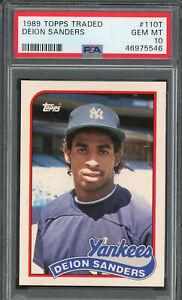 Deion Sanders Yankees 1989 Topps Traded Baseball Rookie Card RC #110T PSA 10