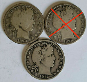 Barber Silver Half Dollars About Good / Very Good Condition Various Dates