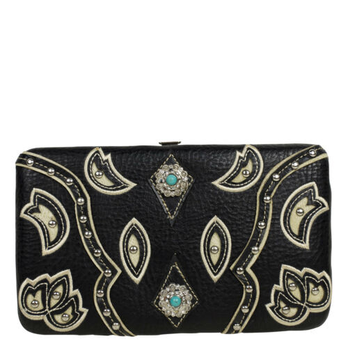 BEIGE STUDDED LOOK FLAT THICK WALLET COUNTRY WESTERN BLING BEIGE BIFOLD CLASP