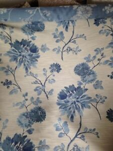 Details About John Lewis Retreat Lagoon Blue Floral Curtain Fabric 1m Lengthnew