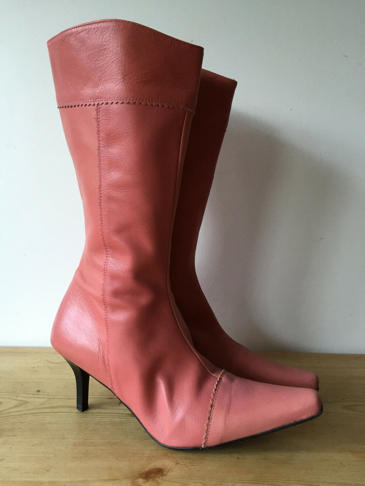 GATEOR LADIES PINK LEATHER MID CALF BOOTS UK7