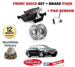 FOR MERCEDES E CLASS E270CDi 2002-2005 FRONT BRAKE DISCS SET + PADS + SENSOR KIT