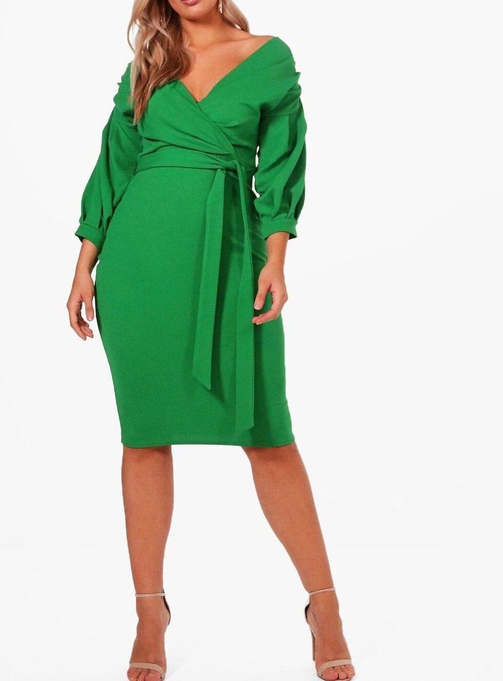 Boohoo Plus Schneider Schulterfrei Gewickelt Midi Kleid in Blattgrünes UK 16 (