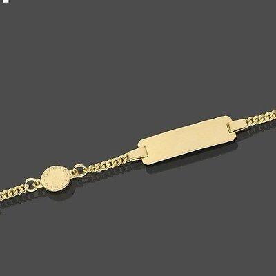 Baby Taufe Stern Ident Armband mit Auto Anhänger und Gravur Name Datum Gold 333