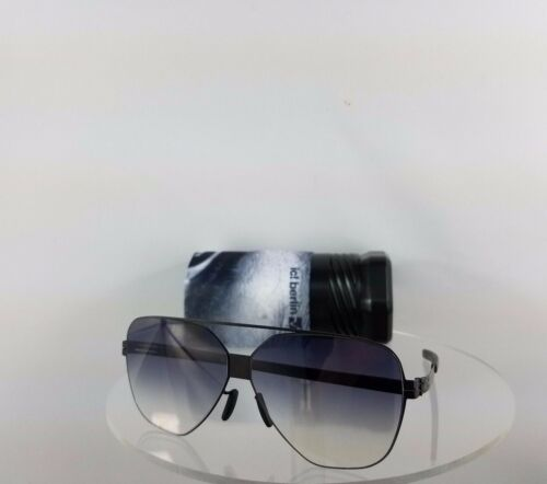 Berlin Sunglasses Harry S Black Blue Lenses 60Mm Frame Brand New Authentic Ic