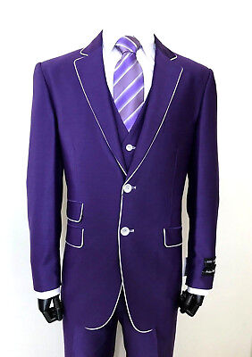Men/'s Two Button Slim Fit Wool Feel Suit w// Matching Vest 5702V1 Purple