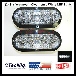 2 6 oval clear white led utility reverse light surface. Black Bedroom Furniture Sets. Home Design Ideas