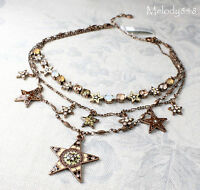 Vintage Andersen Pilgrim Necklace & Earrings Star Copper/pink Swarovski