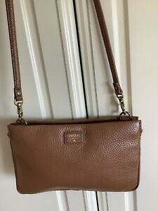 Small Fossil Crossbody Bag In Tan Leather