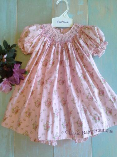 NWT Petit Ami Pink Bishop Smocked Rose Floral Baby Girls 2pc Dress 3 6 9 Months