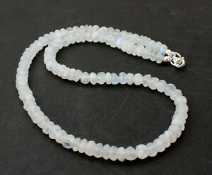 Rainbow Moonstone Precious Stone Necklace Faceted Rondelle White Blue 45 CM