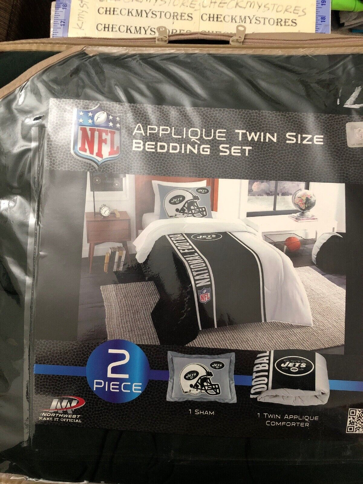 NEW Northwest NFL New York Jets Sham & Twin Comforter Bedding Set AUTHENTIC NFL
