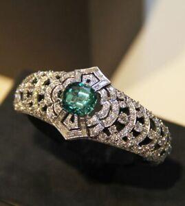 Huge 925 Silver Women Jewelry Aquamarine Gemstone Wedding Bridal Ring Size5-12