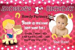 Cowgirl cowboy western horse pink birthday party invitation custom image is loading cowgirl cowboy western horse pink birthday party invitation filmwisefo
