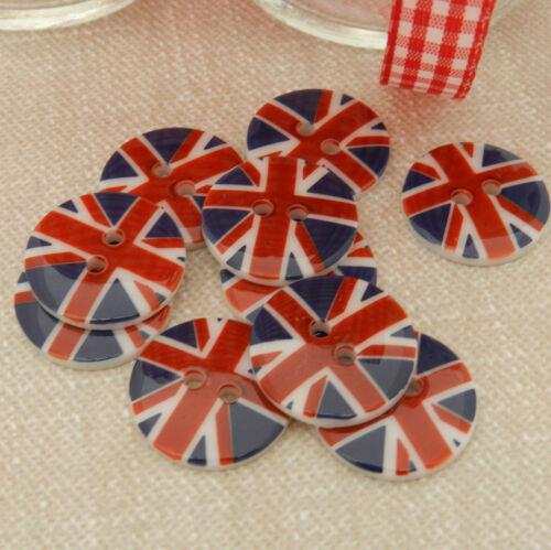 3 x union jack patriotique boutons ronds diamètre 17 mm 2 trous