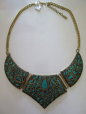 Necklace Gold Brass with Inlaid Turquoise Gemstones Tear Drop From India NWT G18