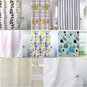 Blue-Canyon-Various-Shower-Curtains-Petal-Flower-Ducks-Owl-Stripe-Raindrops-New