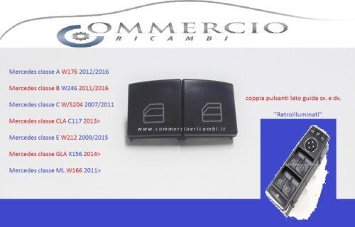 E DX. PULSANTI ALZAVETRO MERCEDES CLASSE A W176 2012//16 COPPIA LATO GUIDA SX