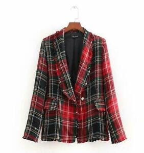 Womens-Plaid-Tweed-Jacket-Blazer-Retro-Slim-Coat-Outwear-Casual-Ladies-Suit-S-L