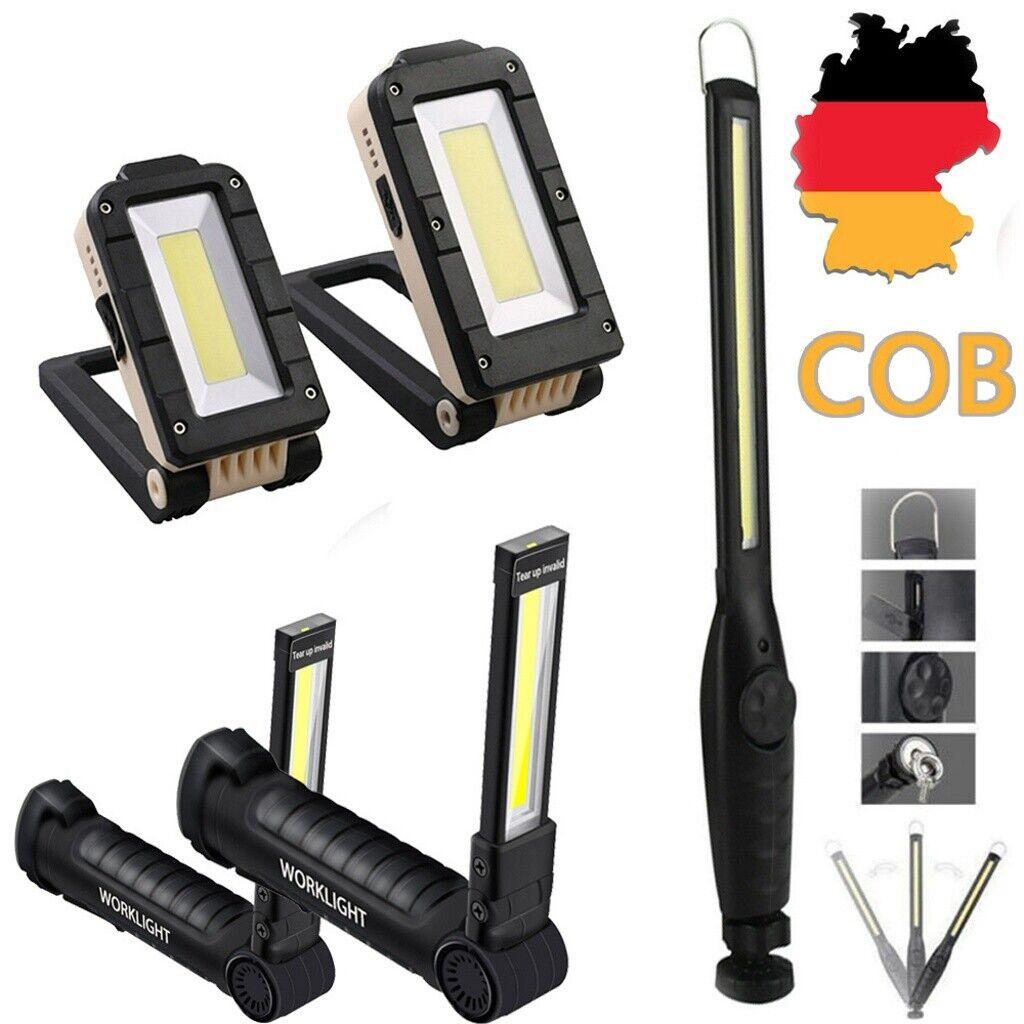 COB LED KFZ Arbeitsleuchte Akku Werkstattlampe Handlampe Stablampe Magnets
