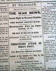 Rare-DAVENPORT-Iowa-Civil-War-Battle-of-Camp-Allegheny-Mountain-1861-Newspaper