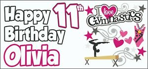 Gymnastics-11th-Birthday-Banner-x2-Party-Decoration-Girls-Daughter-ANY-NAME