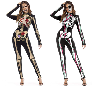 ea7220dcc946 Image is loading Womens-Halloween-Costume-Skeleton-Jumpsuit -Cosplay-Fancy-Party-