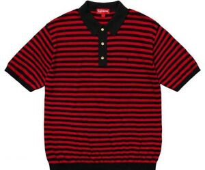 Supreme-Striped-Knit-Polo-Red-Black-Size-Medium-SS18-Collared-Shirt-Box-Logo