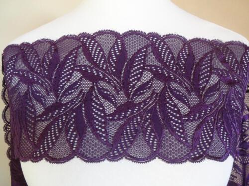 LACE strech en lila Violet 16cm de ancho Francesa punta elástica spitzenbore