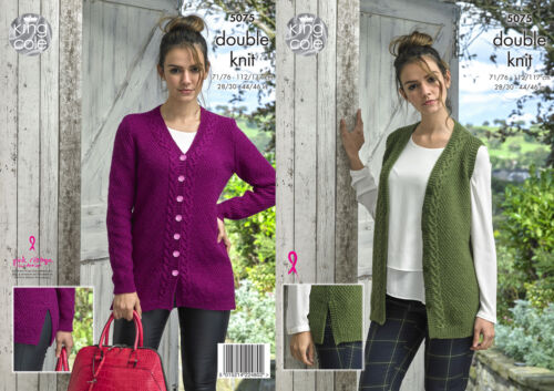 King Cole Ladies Double Knitting Pattern Cable Knit Waistcoat /& Cardigan 5075