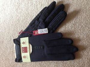 New-with-tags-Dents-Ladies-Driving-Gloves-0-5-size-Navy-leather-amp-material